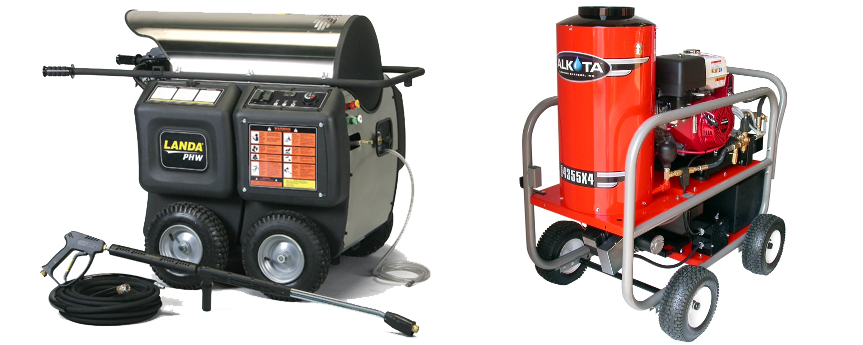 Landa & Alkota Hot Water Roll Around Pressure Washers